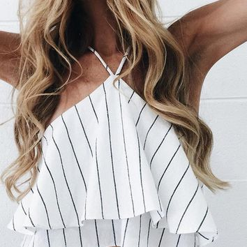 New fashion sexy off shoulder layered backless top white
