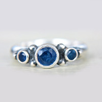 Blue Sapphire Ring Triple Sapphire Engagement Ring Triple Natural Sapphire Ring 7-8 Sterling Silver Promise Ring September Birthstone
