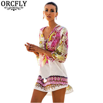 ORCFLY Swimsuit Coverups Vintage Long Sleeve Serpentine Print Hi-lo Hem Beach Dresses Women Cover-up 2017 Robe De Plage LC42156
