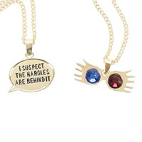 Licensed cool Harry Potter Lunas Glasses Nargles Quote 2 Pack Chain Pendant Necklace Set NEW
