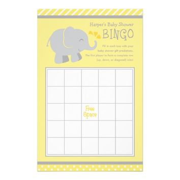 "Elephant Baby Shower Bingo Cards | Yellow and Gray 5.5"" X 8.5"" Flyer"