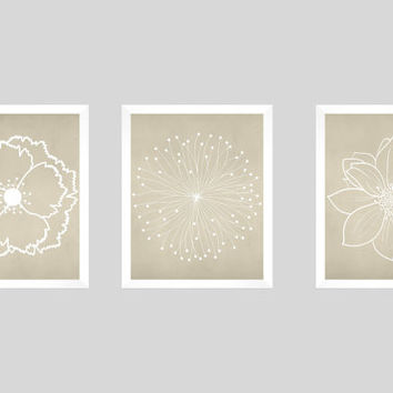 Set of 3 White Flower Blossoms on Beige Chalk Background Prints CUSTOM COLORS Modern Art Prints for Nursery Decor Colors Modern prints  8x10