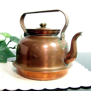 Antique CR-Z DENMARK COPPER Goose Neck Tea Kettle Miniature Doll House Vintage