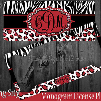 Leopard Monogram License Plate Frame Holder Red Zebra Snow Cheetah Animal Print Pattern Personalized Custom Vanity Tag Cover