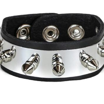 "Silver Metal Plate w/ Spikes Leather Wristband Bracelet Cuff 1"" Wide"