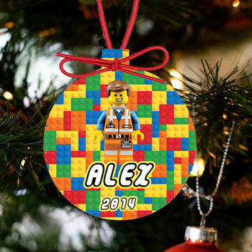 Personalized Christmas LEGO Ornament - Lego Movie Character Hard Hat Emmet