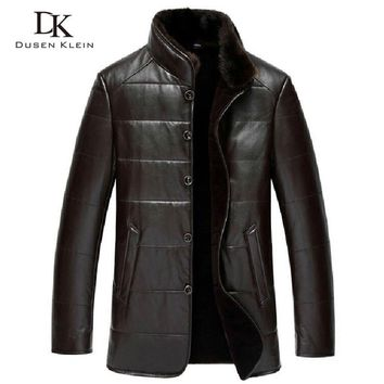 Dusen Klein Winter Leather jacket sheepskin wool liner mink fur collar luxury brand coats Black/Brown 15J1386
