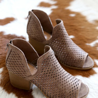 Core Peep Toe Ankle Boot, Taupe