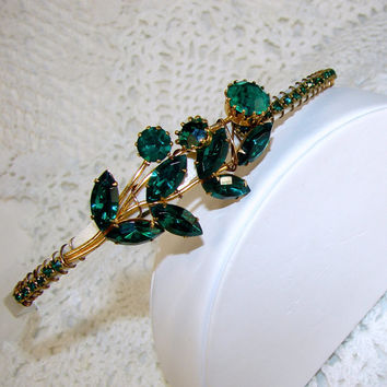 Emerald Green Wedding Rhinestone Headband Jeweled Headpiece Aust 79cb48a68