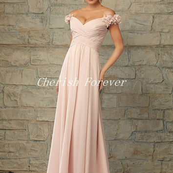 Free Shipping New Arrival Pleat A-Line Flowers Long Bridesmaid Dresses Chiffon Dresses Wedding Bridesmaid Customized BD250