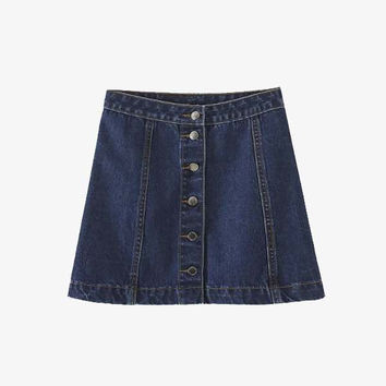Blue Denim Button Front Mini Skirt