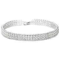 Stretch Memory Wire Silver Plating 3-row rhinestone Choker Bridal/Wedding Necklace Jewelry