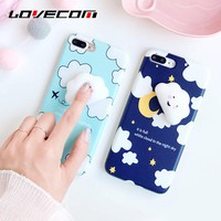 LOVECOM Cute 3D Smiling clouds Stress Relievr Squishy Phone Case For iPhone 6 6s Plus 7 7 Plus Soft IMD Back Cover Fundas Coque
