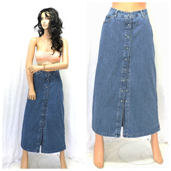 Vintage denim maxi skirt M long jean skirt size 9/ 10 GAP 90s grunge snap front denim skirt long boho hippie jean skirt SunnyBohoVintage