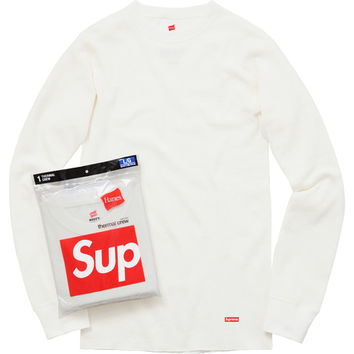 Supreme: Supreme/Hanes® Thermal Crew (1 Pack) - Off White