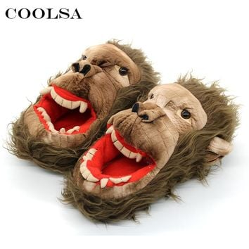 Coolsa New Winter Men Cartoon Slippers Cute Funny Animal Monkey Plush Zombie Slippers Flat Indoor Flip Flops Men Warm Cool Shoes