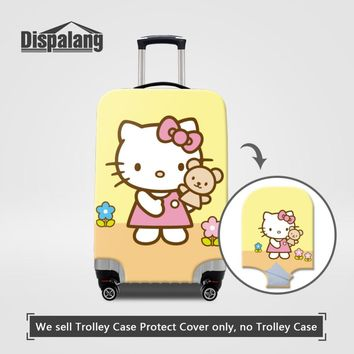 Elastic Luggage Protective Covers Cute Hello Kiggy Print Travel Luggage Dust Cover For 18-30 Inch Suitcase Cartoon Luggage Cover