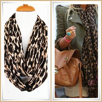 Brown Leopard Infinity  Style Scarf, Long Scarf, Winter Trends, Gift
