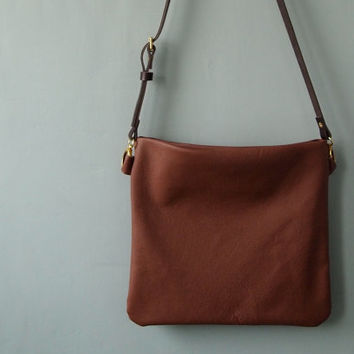 Leather Crossbody Bag - FLOTTA -  Hazelnut Tan Adjustable Shoulder Messenger Bag Purse by Jeanie Deans