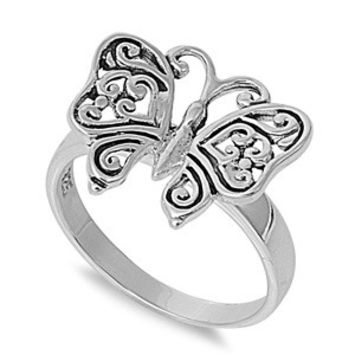 925 Sterling Silver Question Mark Butterfly Ring