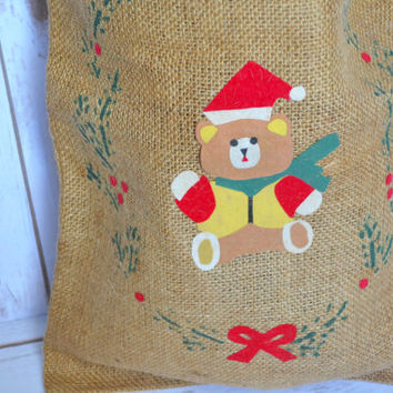 Vintage Christmas burlap bag - rustic christmas decor - christmas bag - rustic christmas decor - burlap christmas bag - rustic christmas