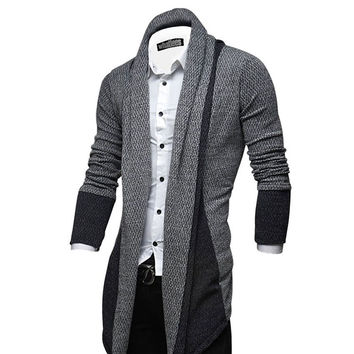 Casual Men Long Patchwork Sweaters Men Sweatercoat Shawl Collar