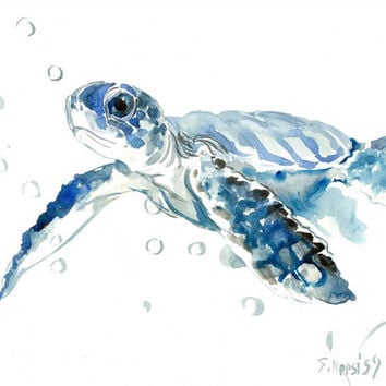 Sea Turtle painting, original watercolor painting, 14 X 11 in, blue nautical wall art, light blue minimalist