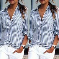 Striped Turn-down Collar Long Sleeves Casual Plus Size Blouse