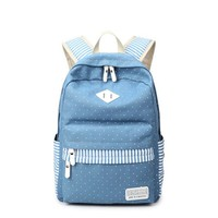 Outdoor Leisure Travel Sports Women's Backpack Canvas Polka Dot and Stripes College Backpack