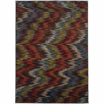 Emerson Multi Black Abstract Ikat Contemporary Rug