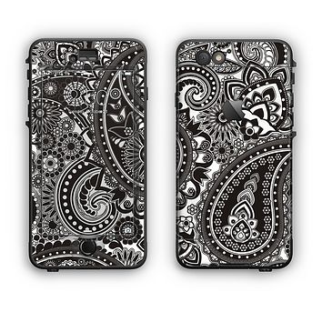 The Black & White Paisley Pattern V1 Apple iPhone 6 Plus LifeProof Nuud Case Skin Set