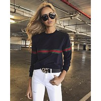 Women All-match Casual Round Neck Loose Show Thin Stitching Stripe Long Sleeve Sweater Tops