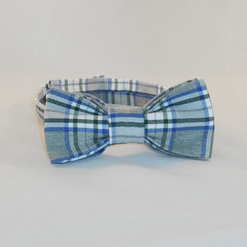 Men's Blue, Green and White Plaid Bowtie