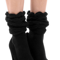 Aoki Fashion - Knee High Socks With Ruffle Detail