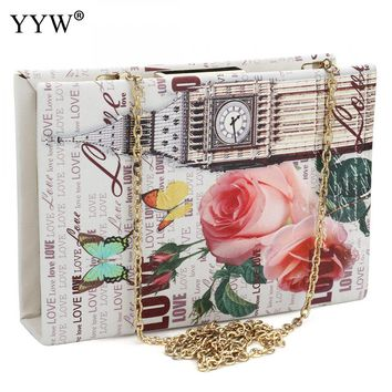 Vintage Luxury Women Bags Evening Party Bag for Female Book Type Clutch Bag Lady's Handbag Famous Brand Chain Crossbody Bag