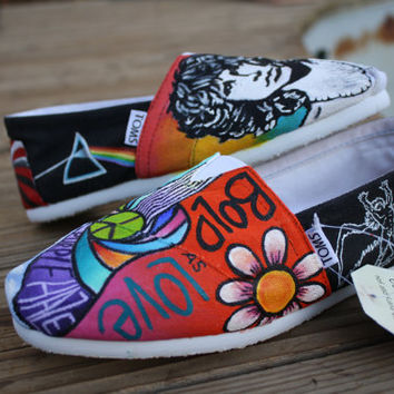 Classic Rock Hippie Original Custom Acrylic Painting for Toms/Canvas Shoe