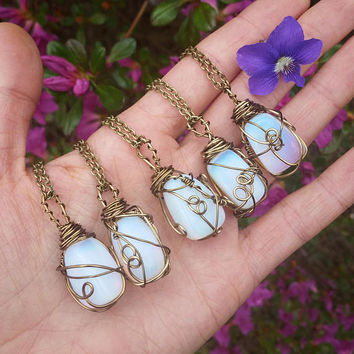 opalite necklace, tumbled opalite necklace, opal , opalite pendant, tumbled opal,