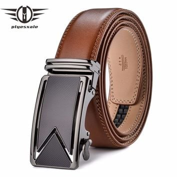 Plyesxale Men Belt 2018 Cowhide Genuine Leather Belts For Men Luxury Automatic Buckle Belts Brown Black Cinturones Hombre B55
