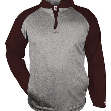 Badger 1484 Sport Heather 1/4 Zip - Steel Heather Maroon