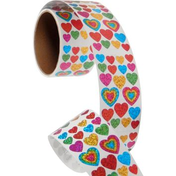Bulk Roll Prismatic Stickers, Assorted Hearts (50 Repeats)