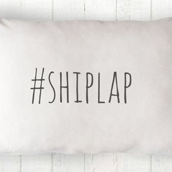 Hashtag Shiplap Lumbar Pillow Cover - Cottage Pillow, White Pillow, Farmhouse Pillow, Hashtag Pillow, 12 x 16, 12 x 18, 14 x 20