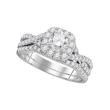 14kt White Gold Women's Round Diamond Halo Twist Bridal Wedding Engagement Ring Band Set 1.00 Cttw - FREE Shipping (US/CAN)