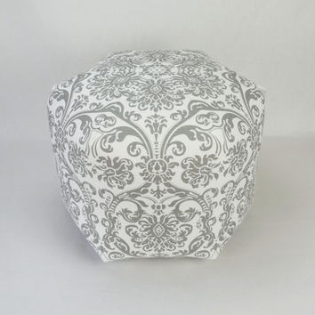 "18"" Pouf Ottoman Pillow in Storm Gray and White Damask Premier Abigail"