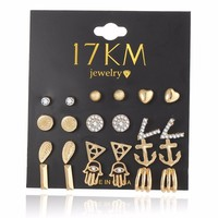 17KM 12 Pcs/Set New Fashion Gold Color Crystal Heart Stud Earrings For Women Vintage Hand Earring Set Boho Punk Jewelry