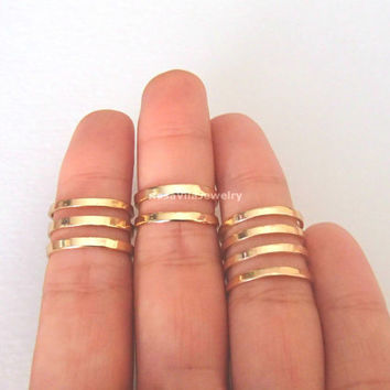 Set of 3 - Egyptian line ring - Gold and Silver; adjustable size; minimalist knuckle ring, midi ring, mini ring, thin ring, tiny nail