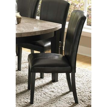 Wooden Side Chair With Padded Leatherette Seat And Back, Black
