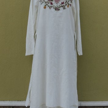 Hand Embroidery Boho Dress Shabby Chic Vintage Dress Midi Flower Embroidery Dress Eco Clothing Plus Size Available