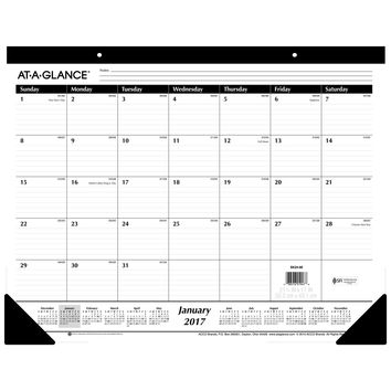 """AT-A-GLANCE Desk Pad Calendar 2017 Monthly Ruled 21-3/4 x 17"""" (SK24-00) Standard-Ruled 1-Pack"""