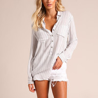Ivory Pinstripe Button Down Blouse