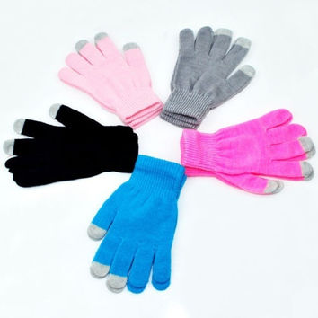 Magic Touch Screen Gloves Smartphone Texting Stretch Adult One Pari Winter Knit [9833987407]